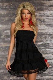 Black Strapless Lace Ruffled Babydoll Summer Dress