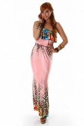 Pink Leopard Print Strapless Long Dress With Flounces