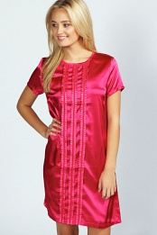 Pink Joanne Satin Detail Shift Dress