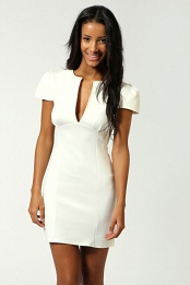 Ivory Billie V Neck Cap Sleeve Bodycon Dress