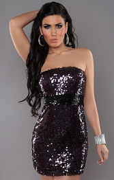 Purple Sexy Bandeau-Minidress With Sequins