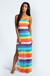 Amy Rainbow Stripe Crochet Bandeau Maxi Dress