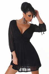 Black V-neck High-Waisted Dress