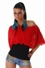 Red Chiffon Black Bottom Off-Shoulder Top