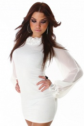 White Fringed Collar Long Chiffon Sleeves Dress