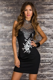 Black-Silver Patterned Short Lace Dress