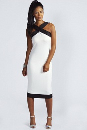 White Kelly Contrast Band Midi Dress
