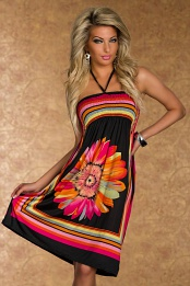 Black Flower Print Multicolor Stripes Summer Dress