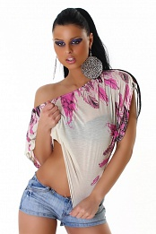 Cream-Pink Off-Shoulder Top With Feather Print