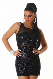 Sexy Black Sequined Short Club Dress With Mesh Insets