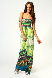 Taylor Shirred Bandeau Paisley Print Maxi Dress
