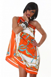 Orange Short Asymmetrical Summer Dress