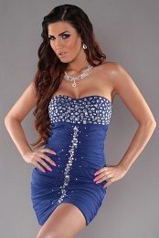 Blue Slinky Strapless Evening Dress With Rhinestones