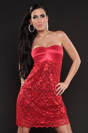 Red Strapless High Waist Line Lace Dress