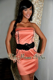 Salmon Satin Strapless Belted Dress