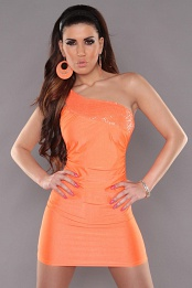 Orange One Shoulder Sequined Club Dress
