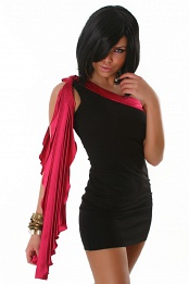 Black Evening Dress With One Red Pleated Sleeve