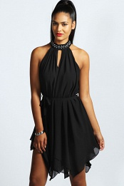 Black Emily Embellished High Neck Chiffon Dress