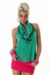Green Sleeveless Blouse With Ruff