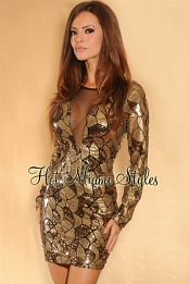 Gold Sequined Black Mesh Insert Dress