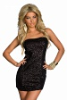Black Strapless Sequined Skin-Tight Club Dress