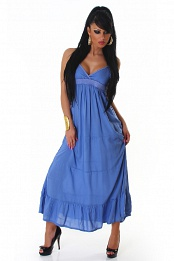 Blue Thin Straps Ruffled Long Summer Dress