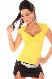 Yellow Sexy Bolero Top Short Arms