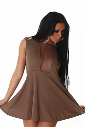 Brown Studded Epaulets Short Dress With Semi-Sheer Insets