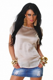 Beige Satin Crew Neck Blouse