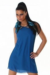 Blue Straight Dress With Decorated Collar