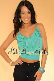 Sea Green Ruffle Silk Top
