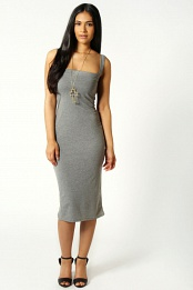 Grey Jen Scoop Neck Jersey Bodycon Vest Dress
