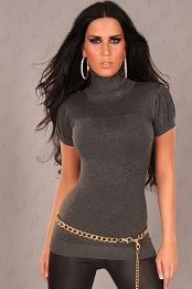 Dark Grey Sexy Short Arm Knitted Turtle Neck Jumper