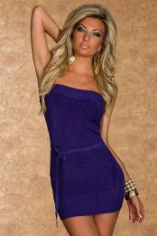 Purple Strapless Knitted Mini Dress With Thin Belt