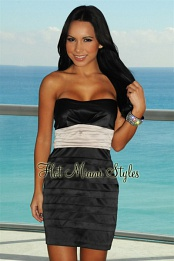 Black Champagne Padded Sweetheart Pleated Dress
