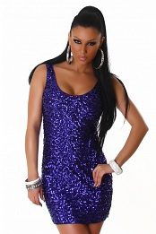 Purple Sequined Sleeveless Club Dress