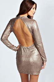 Bronze Roberta High Neck Cut Out Back Sequin Body Dress