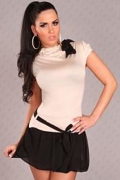 Beige Short Sleeves Bubble Skirt Belted Dress