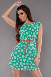Green Sleeveless Belted Polka Dot Short Dress
