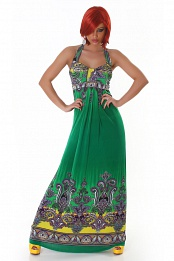Green Paisley Long Halter Summer Dress