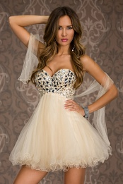 Cream Strapless Prom Evening Dress With Puffy Skirt