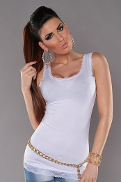 White Tank Top With Lace