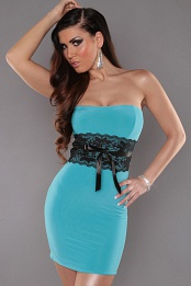 Turquoise Sexy Strapless Dress With Lace Waistband