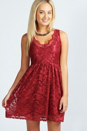 Red Shelly Lace Scallop Skater Dress