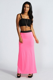 Pink Leanne Neon Jersey Maxi Skirt