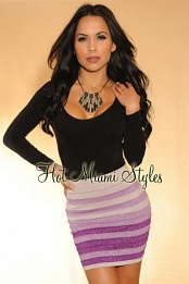 Purple Shimmer Ombre Stripes Bandage Mini Skirt