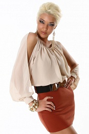 Beige Top Red Bottom Sleeve Cut Belted Dress