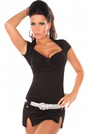 Black Sexy Bolero Top Short Arms