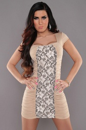 Beige Square Neck Dress With Lace Insert