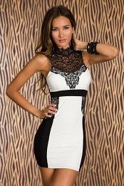 White-Black Two-Color Short Dress With Lace Insets